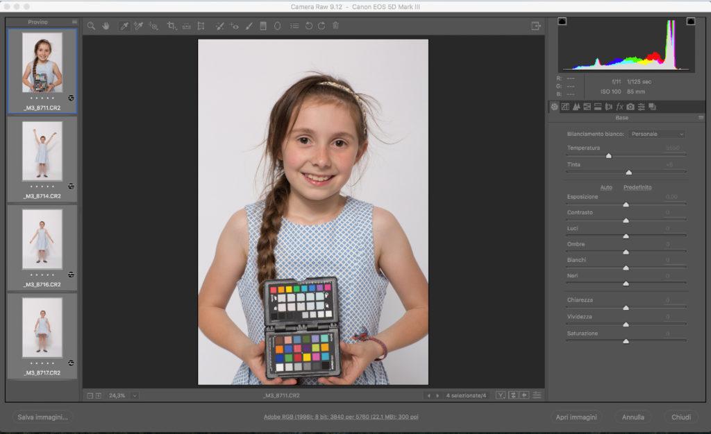 Il bilanciamento di una sequenza di immagini con Camera Raw