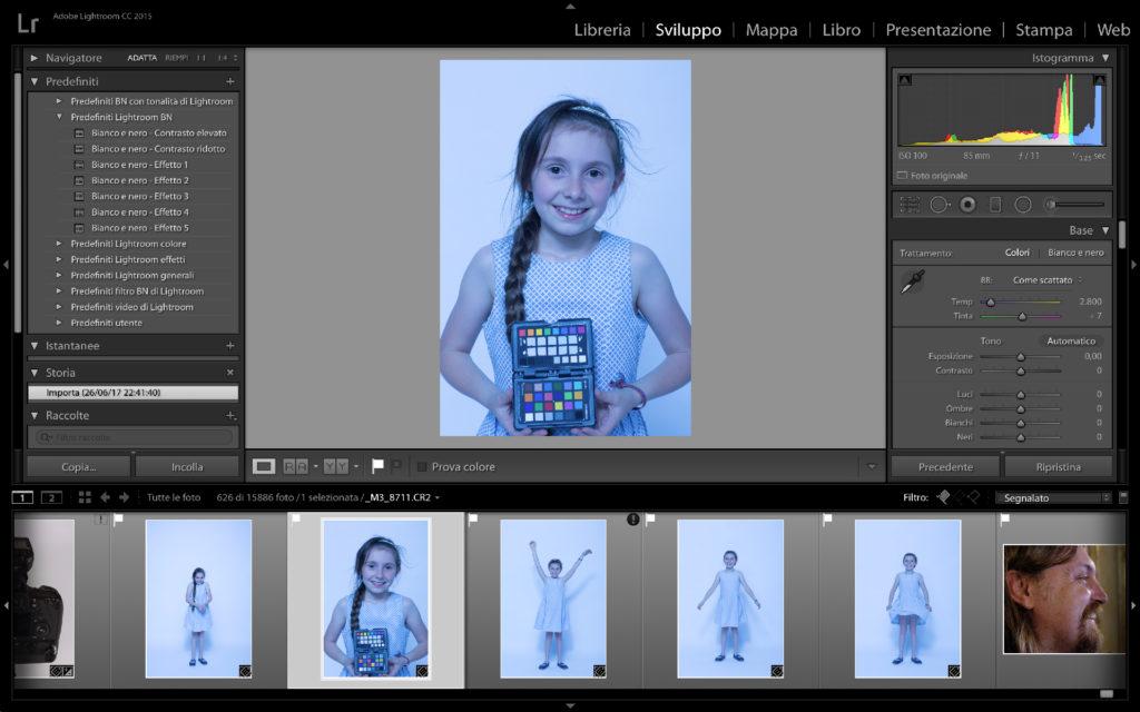 Un batch di immagini da bilanciare in Lightroom