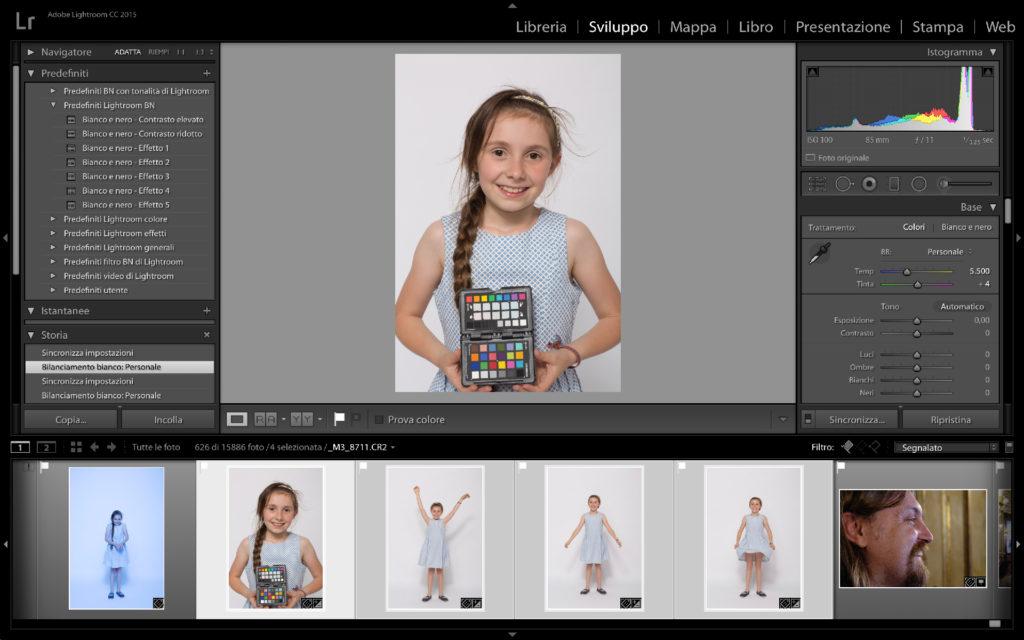 Il bilanciamento del bianco applicato alla sequenza di immagini