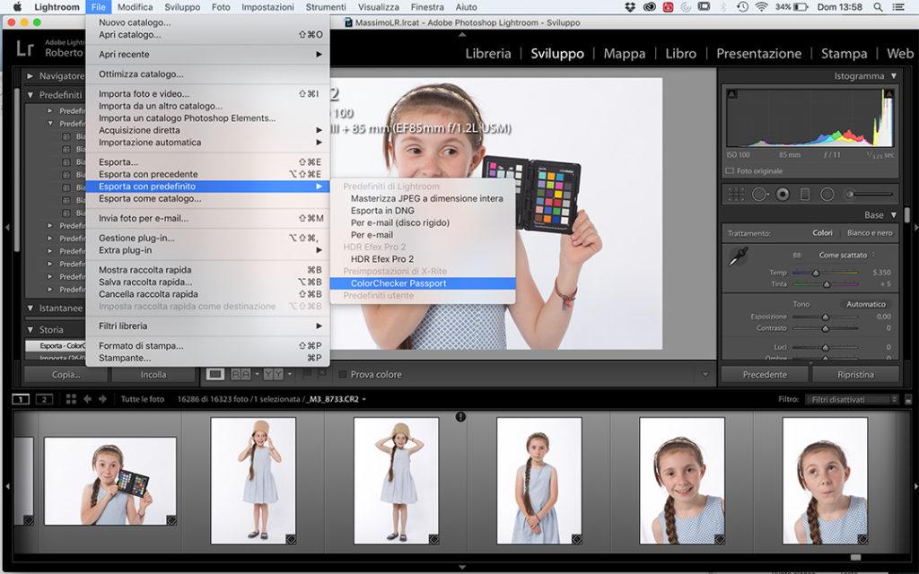 L'esportazione da Lightroom con il preset per la creazione del profilo DNG
