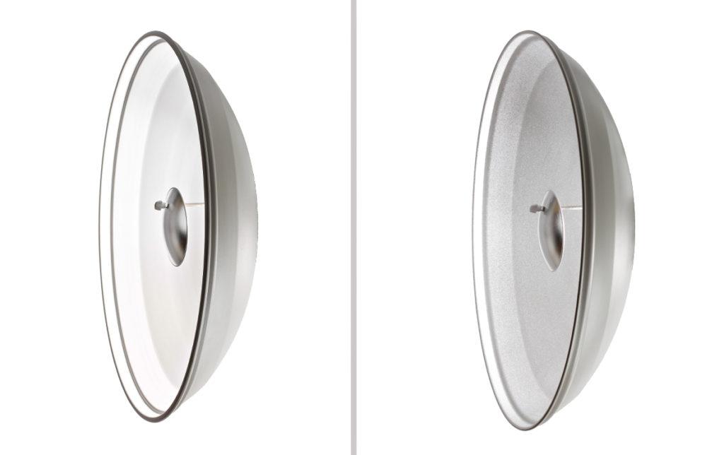 A sinistra un beauty dish con interno bianco, a destra uno con interno argentato.