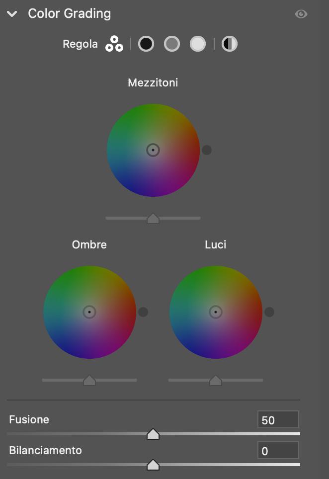 Il pannello colorgrading in Lightroom 10